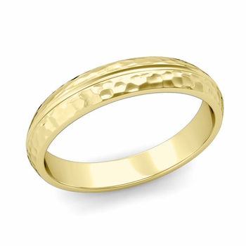 Carved Comfort Fit Wedding Ring in 18K Gold Matte Hammered Band, 4mm
