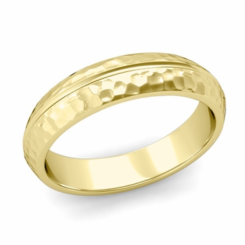 Carved Comfort Fit Wedding Ring in 18K Gold Matte Hammered Band, 5mm