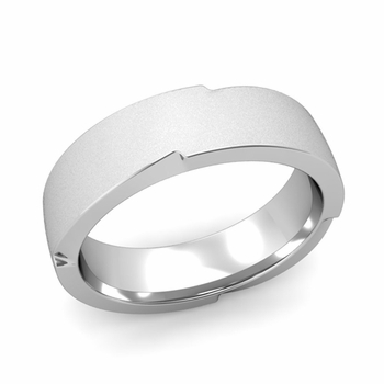 Unique Comfort Fit Wedding Band with Matte Satin Finish in Platinum Band, 6mm