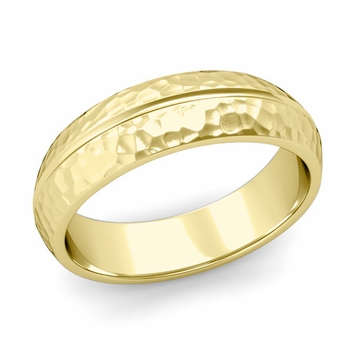 Carved Comfort Fit Wedding Ring in 18K Gold Matte Hammered Band, 6mm