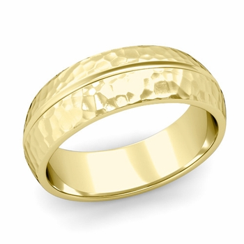 Carved Comfort Fit Wedding Ring in 18K Gold Matte Hammered Band, 7mm
