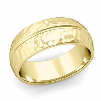 Carved Comfort Fit Wedding Ring in 18K Gold Matte Hammered Band, 8mm
