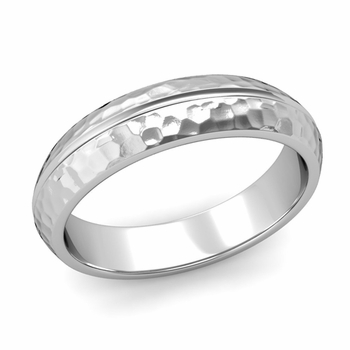 Carved Comfort Fit Wedding Ring in Platinum Matte Hammered Band, 5mm