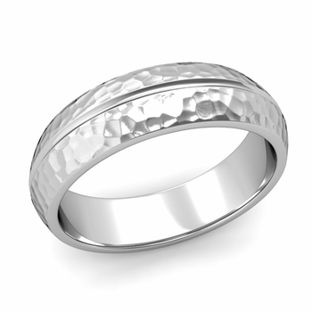 Carved Comfort Fit Wedding Ring in Platinum Matte Hammered Band, 6mm