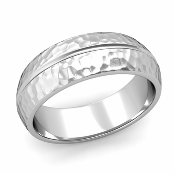 Carved Comfort Fit Wedding Ring in Platinum Matte Hammered Band, 7mm