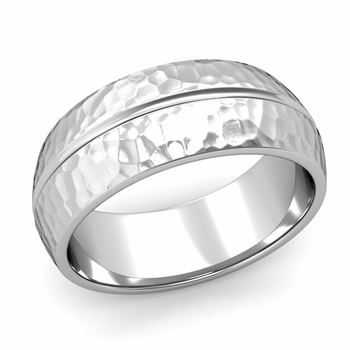 Carved Comfort Fit Wedding Ring in Platinum Matte Hammered Band, 8mm