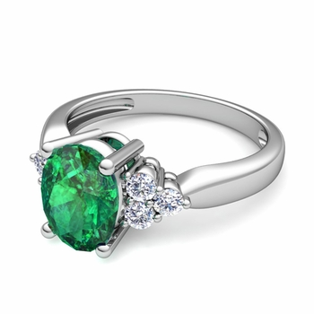 Three Stone Diamond and Emerald Engagement Ring in Platinum, 9x7mm