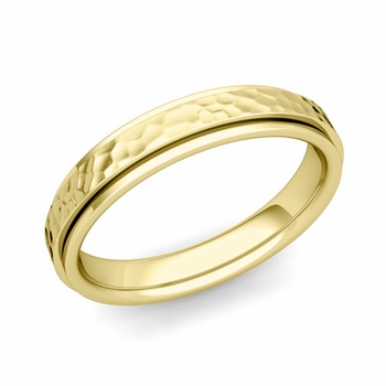 Park Avenue Wedding Band in 18k Gold Hammered Comfort Fit Ring, 4mm