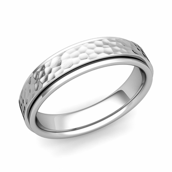 Park Avenue Wedding Band in 14k Gold Hammered Comfort Fit Ring, 5mm