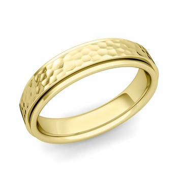 Park Avenue Wedding Band in 18k Gold Hammered Comfort Fit Ring, 5mm