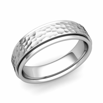 Park Avenue Wedding Band in 18k Gold Hammered Comfort Fit Ring, 6mm
