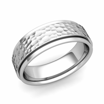 Park Avenue Wedding Band in 14k Gold Hammered Comfort Fit Ring, 7mm