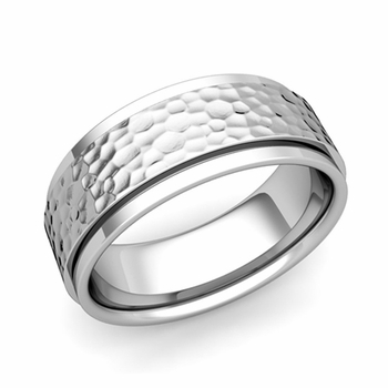Park Avenue Wedding Band in 14k Gold Hammered Comfort Fit Ring, 8mm