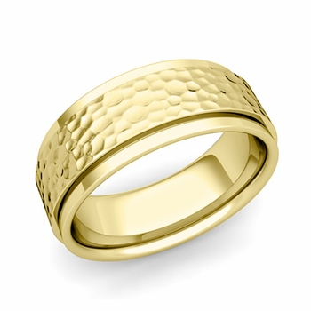 Park Avenue Wedding Band in 18k Gold Hammered Comfort Fit Ring, 8mm