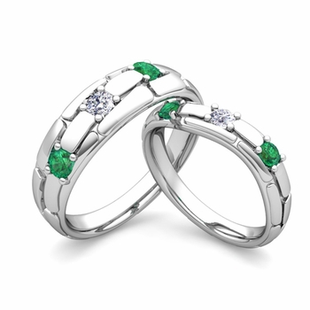 Matching Wedding Band: His and Hers Diamond and Emerald Ring in Platinum