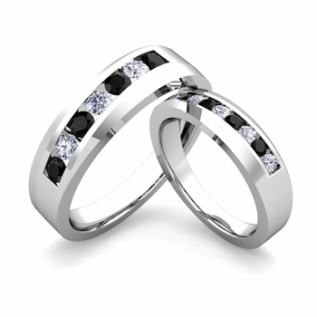 His and Hers Matching Wedding Band in Platinum Channel Set Black and White Diamond Ring