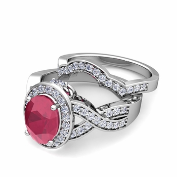 Infinity Diamond and Ruby Engagement Ring Bridal Set in 14k Gold, 7x5mm