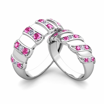 Matching Wedding Band in Platinum Twisted Diamond Pink Sapphire Wedding Rings