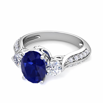 Vintage Inspired Diamond and Blue Sapphire Three Stone Ring in Platinum, 9x7mm