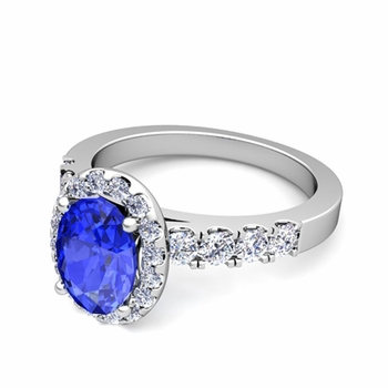 Brilliant Pave Set Diamond and Ceylon Sapphire Halo Engagement Ring in Platinum, 7x5mm