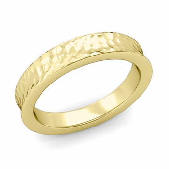 Contour Wedding Band in 18k Gold Hammered Comfort Fit Ring, 4mm