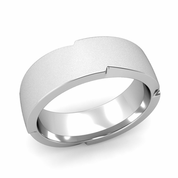 Unique Comfort Fit Wedding Band with Matte Satin Finish in Platinum Band, 7mm