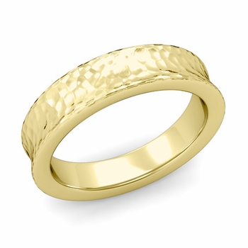 Contour Wedding Band in 18k Gold Hammered Comfort Fit Ring, 5mm