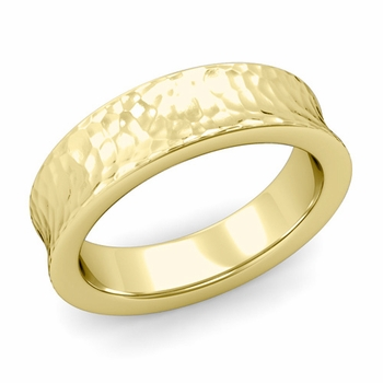 Contour Wedding Band in 18k Gold Hammered Comfort Fit Ring, 6mm