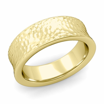 Contour Wedding Band in 18k Gold Hammered Comfort Fit Ring, 7mm