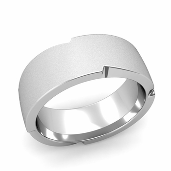 Unique Comfort Fit Wedding Band with Matte Satin Finish in Platinum Band, 8mm