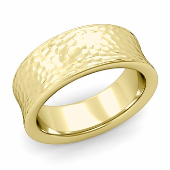 Contour Wedding Band in 18k Gold Hammered Comfort Fit Ring, 8mm