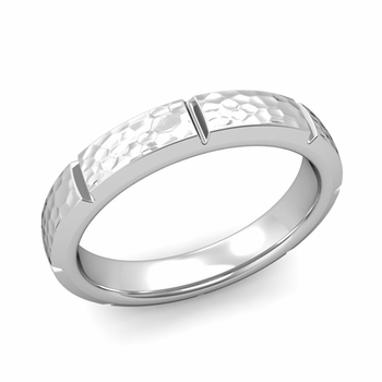 Swiss Cut Wedding Band in Platinum Hammered Finish Ring, 4mm