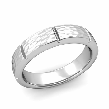 Swiss Cut Wedding Band in Platinum Hammered Finish Ring, 5mm