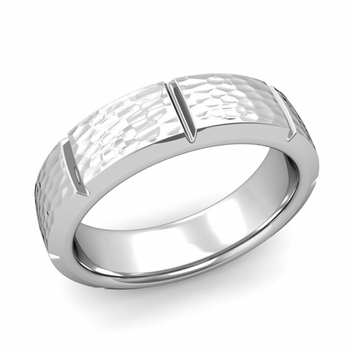 Swiss Cut Wedding Band in Platinum Hammered Finish Ring, 6mm