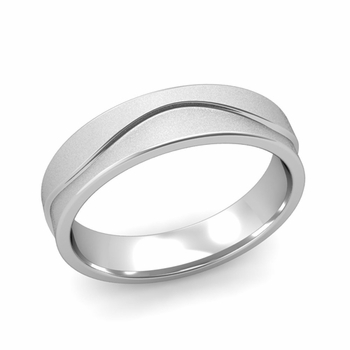 Wave Wedding Band in Platinum Comfort Fit Ring, Satin Finish, 5mm
