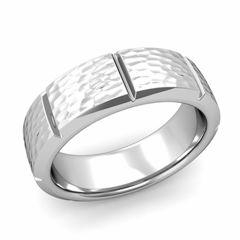 Swiss Cut Wedding Band in Platinum Hammered Finish Ring, 7mm