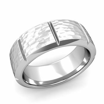 Swiss Cut Wedding Band in Platinum Hammered Finish Ring, 8mm