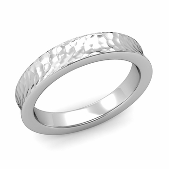 Contour Wedding Band in Platinum Hammered Comfort Fit Ring, 4mm