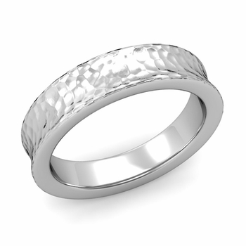 Contour Wedding Band in Platinum Hammered Comfort Fit Ring, 5mm