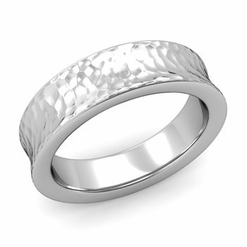 Contour Wedding Band in Platinum Hammered Comfort Fit Ring, 6mm
