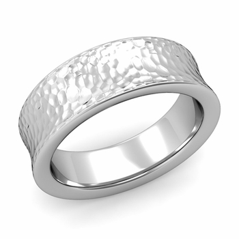 Contour Wedding Band in Platinum Hammered Comfort Fit Ring, 7mm