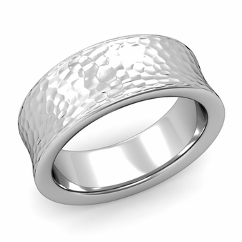 Contour Wedding Band in Platinum Hammered Comfort Fit Ring, 8mm