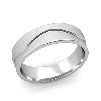 Wave Wedding Band in Platinum Comfort Fit Ring, Satin Finish, 6mm