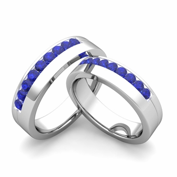 Matching Wedding Bands: Channel Set Sapphire Wedding Rings in Platinum
