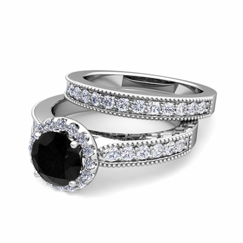 Halo Bridal Set: Milgrain Black and White Diamond Engagement Wedding Ring in 14k Gold, 7mm