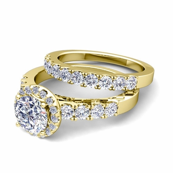 Halo Bridal Set: Pave Set Diamond Engagement Wedding Ring Set in 18k Gold