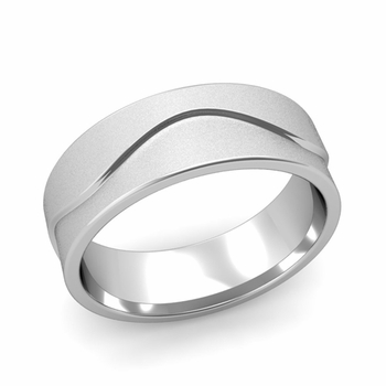 Wave Wedding Band in Platinum Comfort Fit Ring, Satin Finish, 7mm