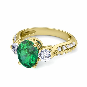 Vintage Inspired Diamond and Emerald Three Stone Ring in 18k Gold, 9x7mm