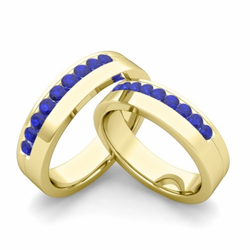 Matching Wedding Bands: Channel Set Sapphire Wedding Rings in 18k Gold