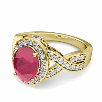 Infinity Diamond and Ruby Engagement Ring in 18k Gold, 7x5mm
